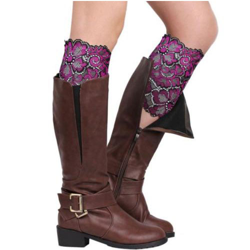 TKOH Women Stretch Lace Boot Cuffs Flower Leg Warmers Lace Trim Soft Toppers Socks