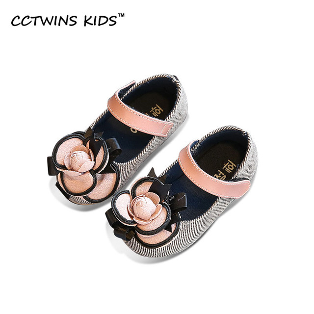 CCTWINS KIDS 2017 Spring Autumn Flower Kid Party Flat Children Fashion Baby Girl Brand Toddler Mary Jane Pink Princess flat