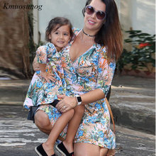 Mother Daughter Dresses Half Sleeve V-neck Dress and Clothes Spring Leaf Flowers Mom C0334