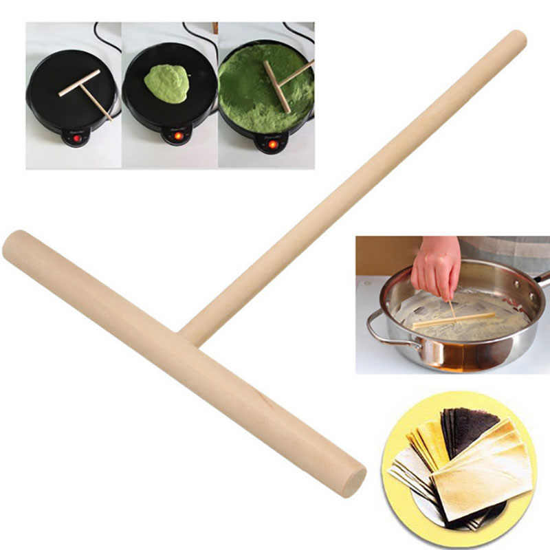 12*17 Cm Kayu T Huruf Alat Dapur Tongkat Penyebar Crepe Maker Pancake Adonan Conveniet Rak Penyebar Alat Dapur murah 2019