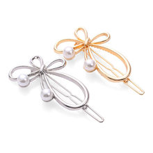 Hollow Metal Hair Clip Pearl Hairpins Butterfly Barrette Irregular Bow-knot Pin Women Fashion Hair Pin Jewelry Hair Styling Tool(China)