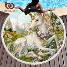 c5f720d0db7fd BeddingOutlet 3D Unicorn Round Beach Towel Painting Tassel Tapestry Floral Yoga  Mat Dreamlike Towel 150cm Toalla Blanket
