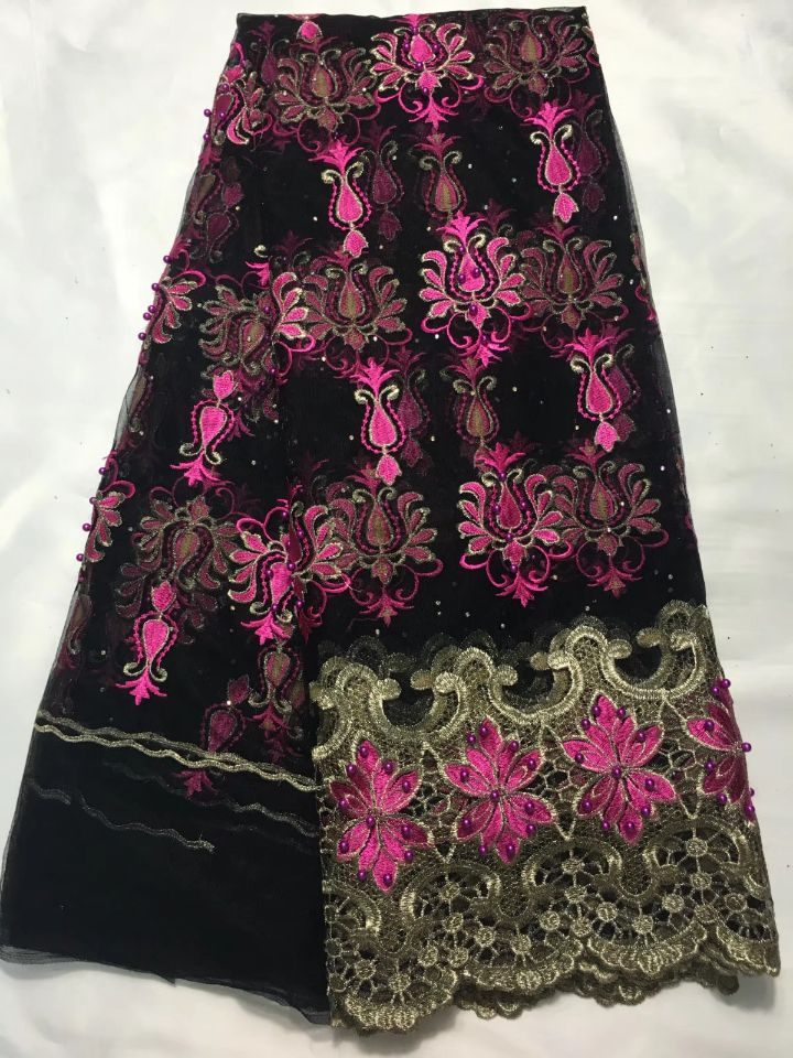 5Yards/pc New fashion black french net lace fabric with beads and flower fuchsia embroidery african mesh lace for dress QN1-55Yards/pc New fashion black french net lace fabric with beads and flower fuchsia embroidery african mesh lace for dress QN1-5