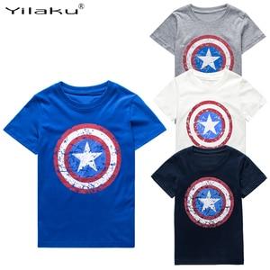 Yilaku Boys T shirt Summer Clothes Captain America Tops Kids T-shirts For 1~11 Y Boy Cartoon Tops Tees Children Clothing CG050