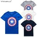 2017 Algodón de Los Muchachos Camisetas Capitán América Corta camiseta de Los Niños para 1 ~ 11 Y Muchacho de la Historieta Remata camisetas Ropa de Verano Para Niños CG050