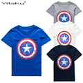 2017 Cotton Boys T-shirts Captain America Short Children t shirt For 1~11 Y Boy Cartoon Tops Tees Summer Kids Clothes CG050