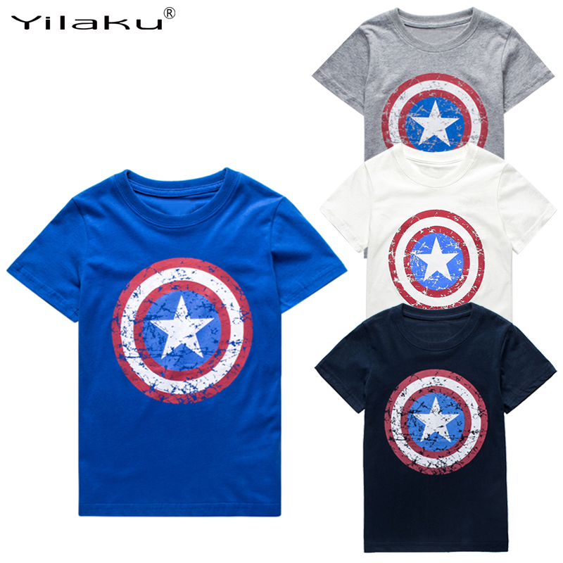 Yilaku Boys футболкасы Summer Clothes Captain America Tops Балалар футболкалар 1 ~ 11 Y Boy үшін мультфильм Топс Tees Балалар киімі CG050