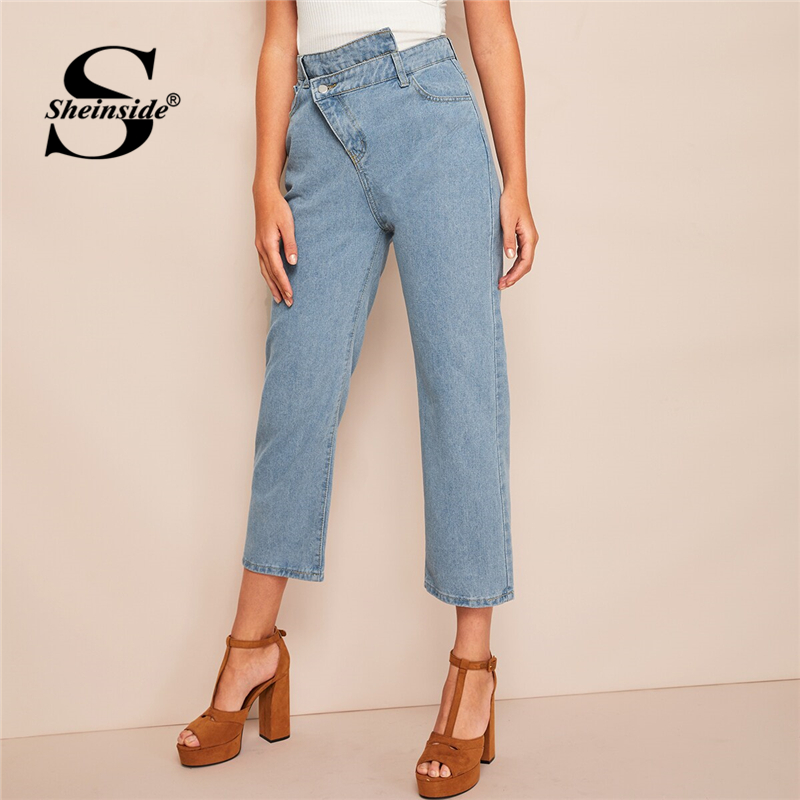 Sheinside Casual Straight Leg Denim   Jeans   Women 2019 Spring High Waist Crop Trousers Ladies Asymmetrical Detail Blue   Jeans
