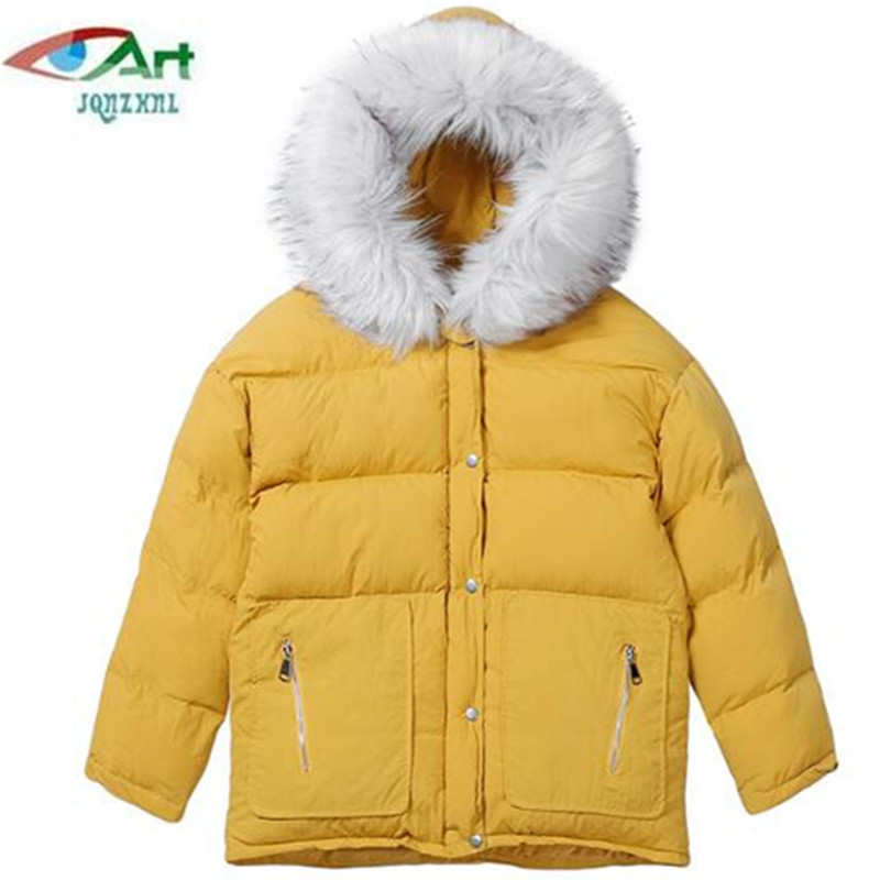 JQNZHNL Women Short Down Cotton Jacket Winter Fashion Hooded Fur Collar Cotton-padded Coats Winter Warm Solid Color Coats AS367 100% white duck down women coat fashion solid hooded fox fur detachable collar winter coats elegant long down coats