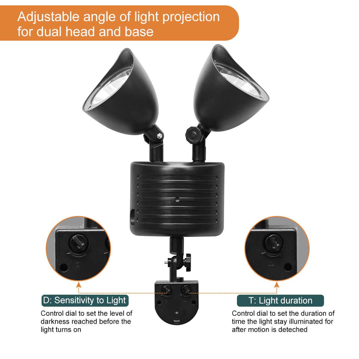 22 светодиодов Солнечный свет Twin Dual Head PIR светильник с датчиком движения уличная Солнечная лампа Водонепроницаемый дорожка чрезвычайная ситуация Street настенные светильники