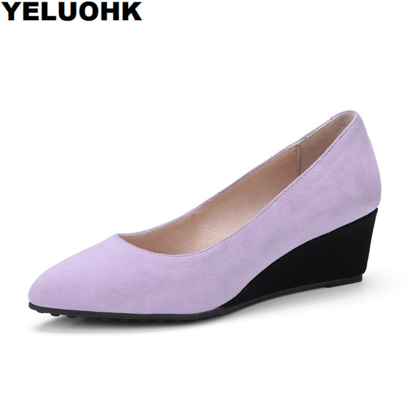 New Spring Wedge Shoes Women Pumps Fashion Pointed Toe Ladies Shoes Pumps Casual High Heels 2017 hot sale fashion new women shoes pointed toe transparent pvc party shoes women casual high heels pumps shoes 596