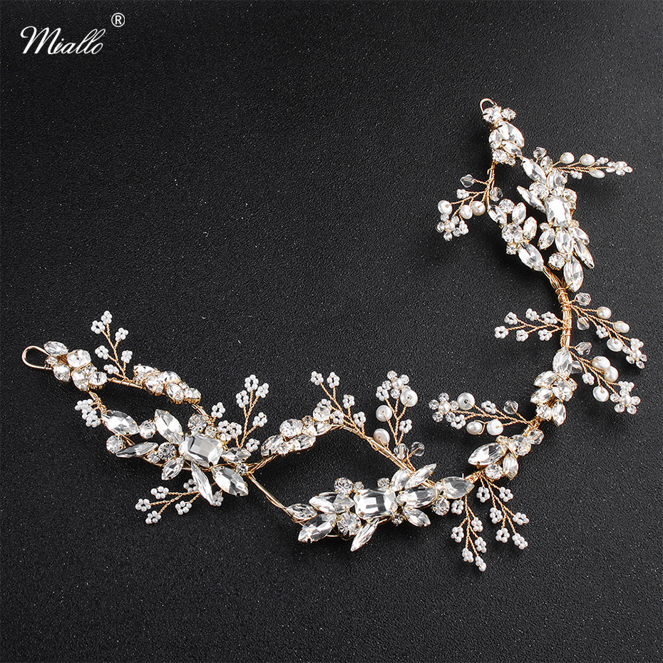 Miallo 2018 Newest Fashion Austrian Crystal Peals Handmade Headbands Wedding Hair Vine Head Accessories for Women Headpieces подгузники детские pampers подгузники active baby dry 8 14 кг 4 размер 90 шт