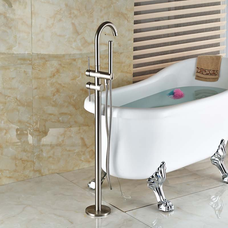 Good Quality Free Standing Bathtub Mixer Taps Floor Mount bathroom tub Filler Brushed Nickel Finish