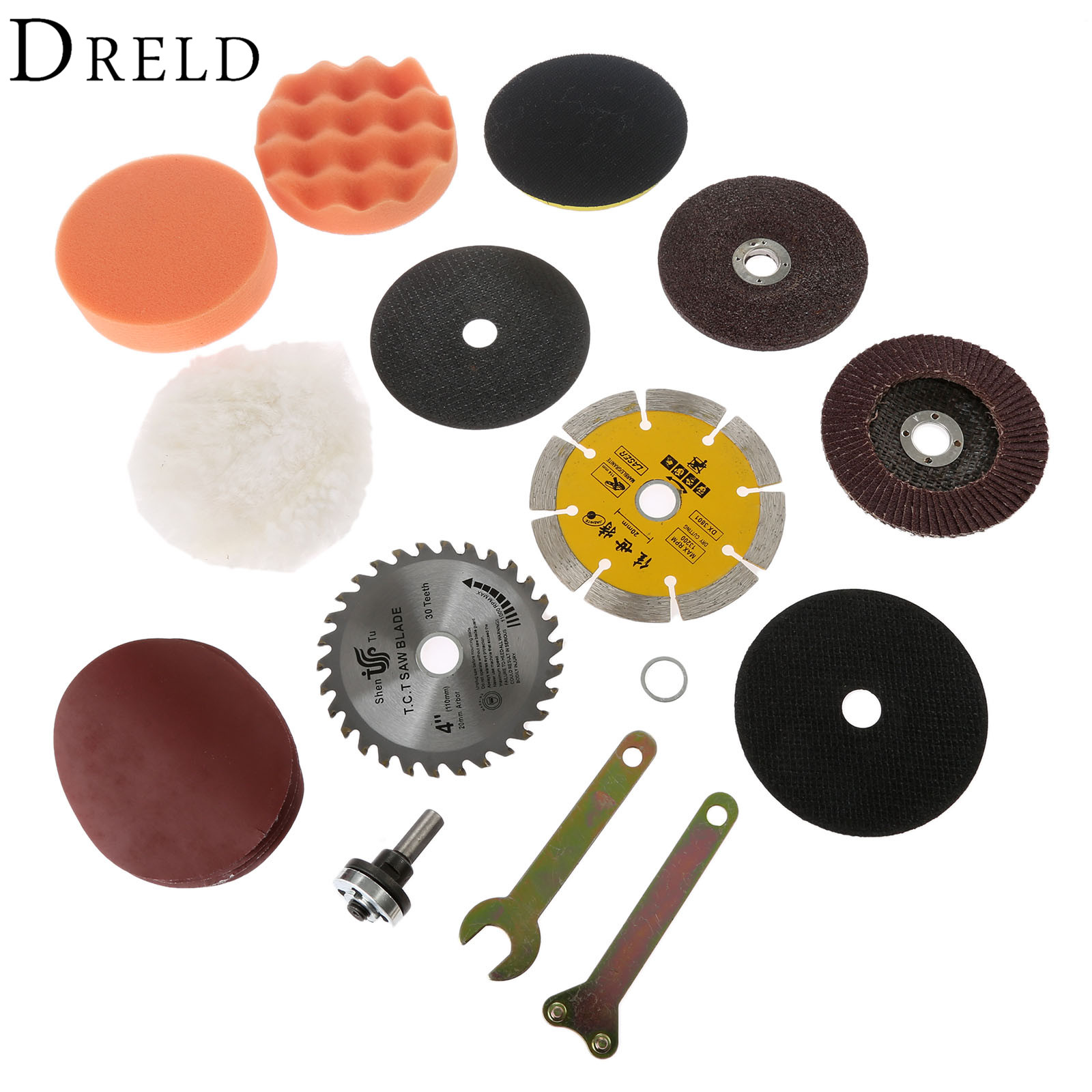 10Pcs Metal Cutting Polishing Pad Marble Grinding Wheel Saw Blade Spanner Conversion Kit for Electric Drill Power Tools miniature vibration polishing grinding polisher machine flacker remove metal burrs cleaning metal surface stains 220v 110v