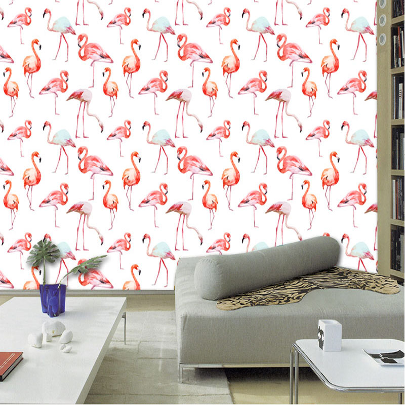 Cutom 3D printed mural on the wall wholesale flamingo bird for office decor bedroom decoration free shipping купить