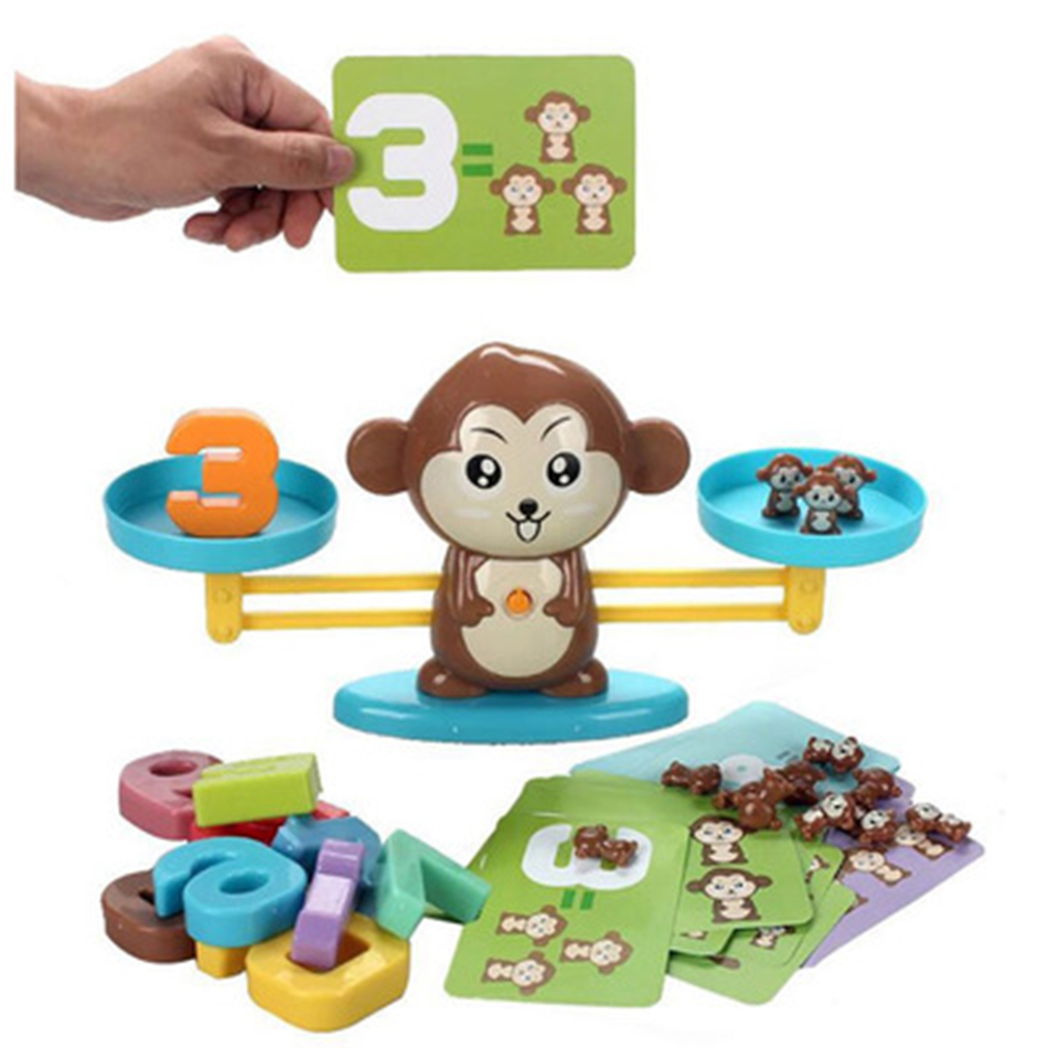 Monkey Digital Scale Early Learning Balance With Magnetic Number Block Preschool Teaching Math Board Party Game Toy For Children