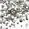 Mix Sizes Jet hematite Non Hotfix Nail Art Rhinestone Crystal Strass Glue For Fake Nails SS3-SS16 SS3-SS30 Two Options