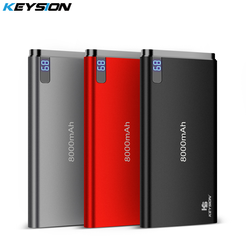 KEYSION 10mm Ultra-dünne Power Bank 8000 mah Tragbare Externe Lithium-Polymer Batterien Handy Aluminium Alloy Power bank