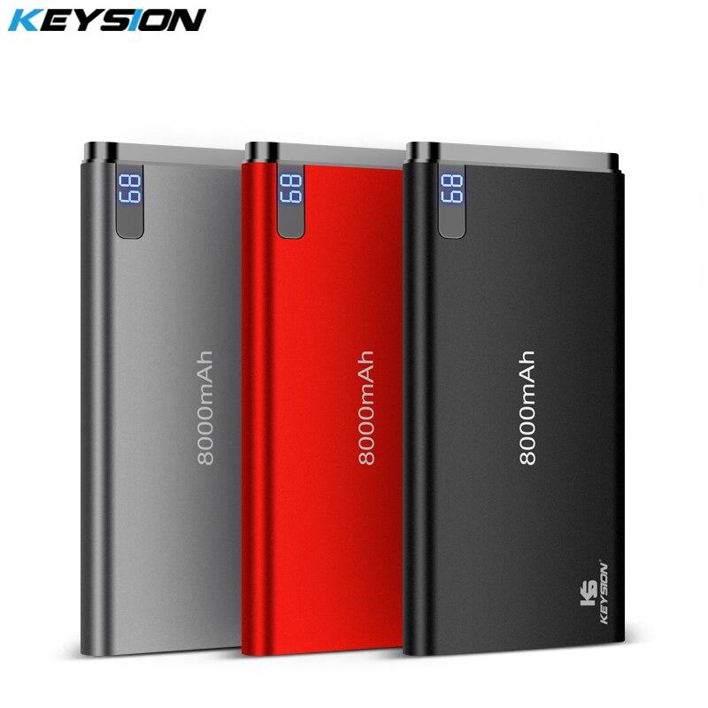 KEYSION 10mm Ultra-dünne Power Bank 8000 mah Tragbare Externe Lithium-Polymer Batterien Handy Aluminium Alloy Power bank