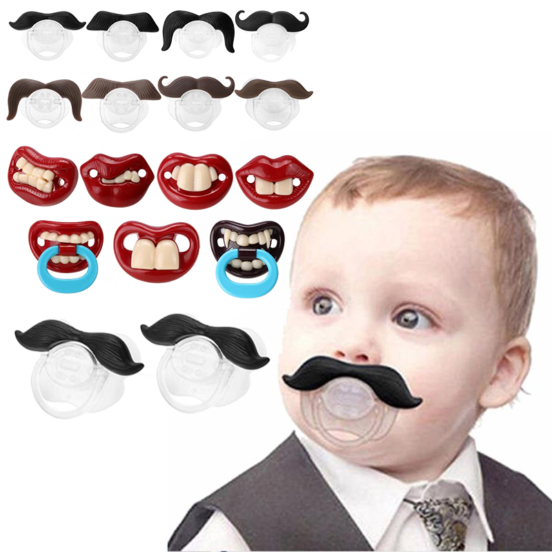 Silicone Pacifier Cute Funny Spoof Baby Dummy Nipple Teethers Beard Toddler Orthodontic Nipples Teether Christmas Gift