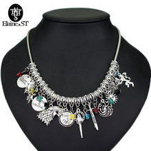 "2017 DIY custom made Game of Thrones Necklace ""Winter Is Coming"" Wolf badge&Lion&Dragon&sword crystal pendants choker Necklace"