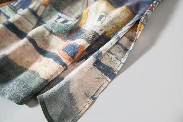 Women 100% Real Silk long dress Luxury Print Natural silk Sleeveless dress Mid Calf length 2017
