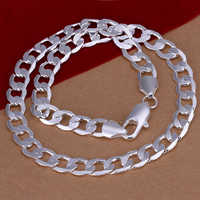 925 sterling silver necklaces fashion jewelry statement necklace pendant 10mm flat side choker chain for men women colar N005