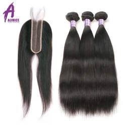 ALIMICE бразильские прямые волосы человеческие волосы пучки с 2*6 парик с пробором посередине 3 Связки с закрытием не Реми волосы расширения