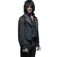 Gorgeous Gothic Blue Tuxode Coats Steampunk Polyester Men Flannel Long Tail Coat Lace up Sleeveless Jacquard Outwear