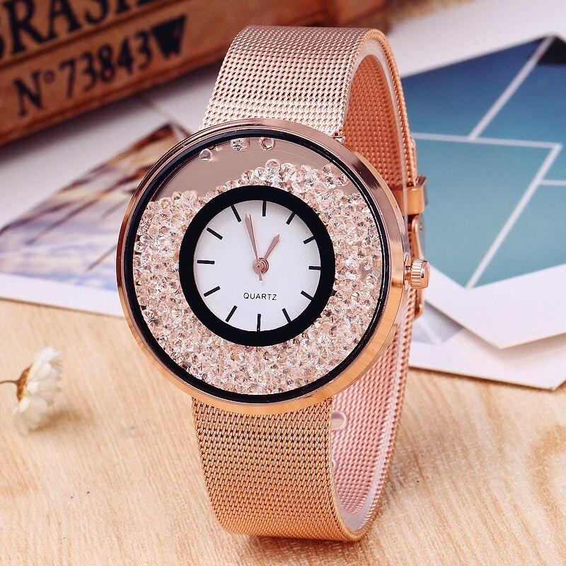 Hot Sale Fashion Stainless Steel Rose Gold & Silver Band Quartz Watch Luxury Women Rhinestone Watches Valentine Gift Montre Homm