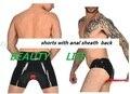 Novo sexy mais grandes Homens Shorts Underwear com um Anexo de Látex De Borracha Fetiche Anal Bainha Zíper Frontal