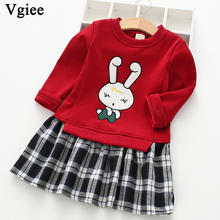 Vgiee Kids Dress for Baby Girls Dresses 2019 Autumn Party Princess Dress Full Plaid Print for Rabbit Little Girl Clothing CC332