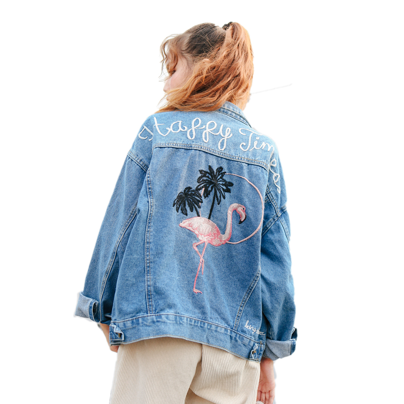 Bird Embroidered Letter Denim Blue Simple Fashion Vintage Casual All Match 2018 Winter New Long Sleeve Female Jackets 5