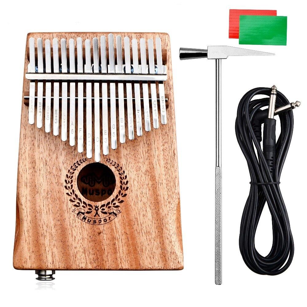 17 touches EQ Kalimba Mbira acajou pouce doigt Piano lien haut-parleur électrique sac de ramassage + câble + autocollant + accordeur marteau coffret