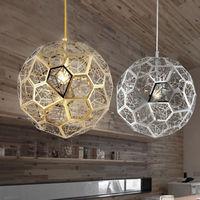 Post Modern Hollowed Stainless Steel Globe Pendant Light Fixture Chrome Gold Color E27 Bulb Lamp AC