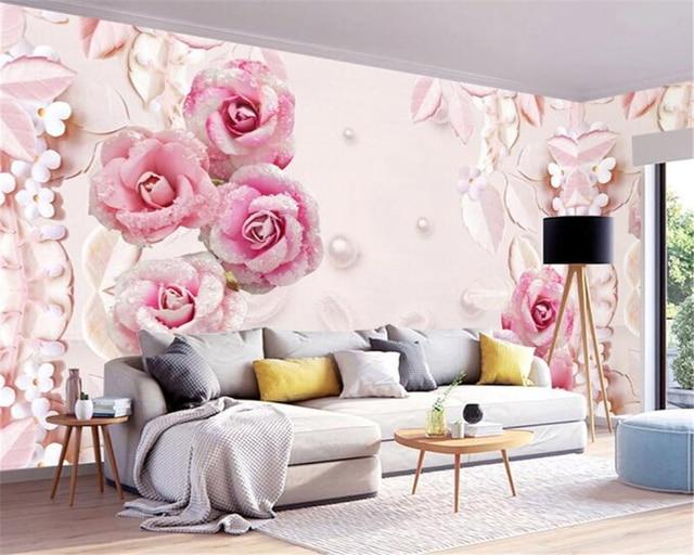 Beibehang Custom behang 3D roze rose relief behang woonkamer ...