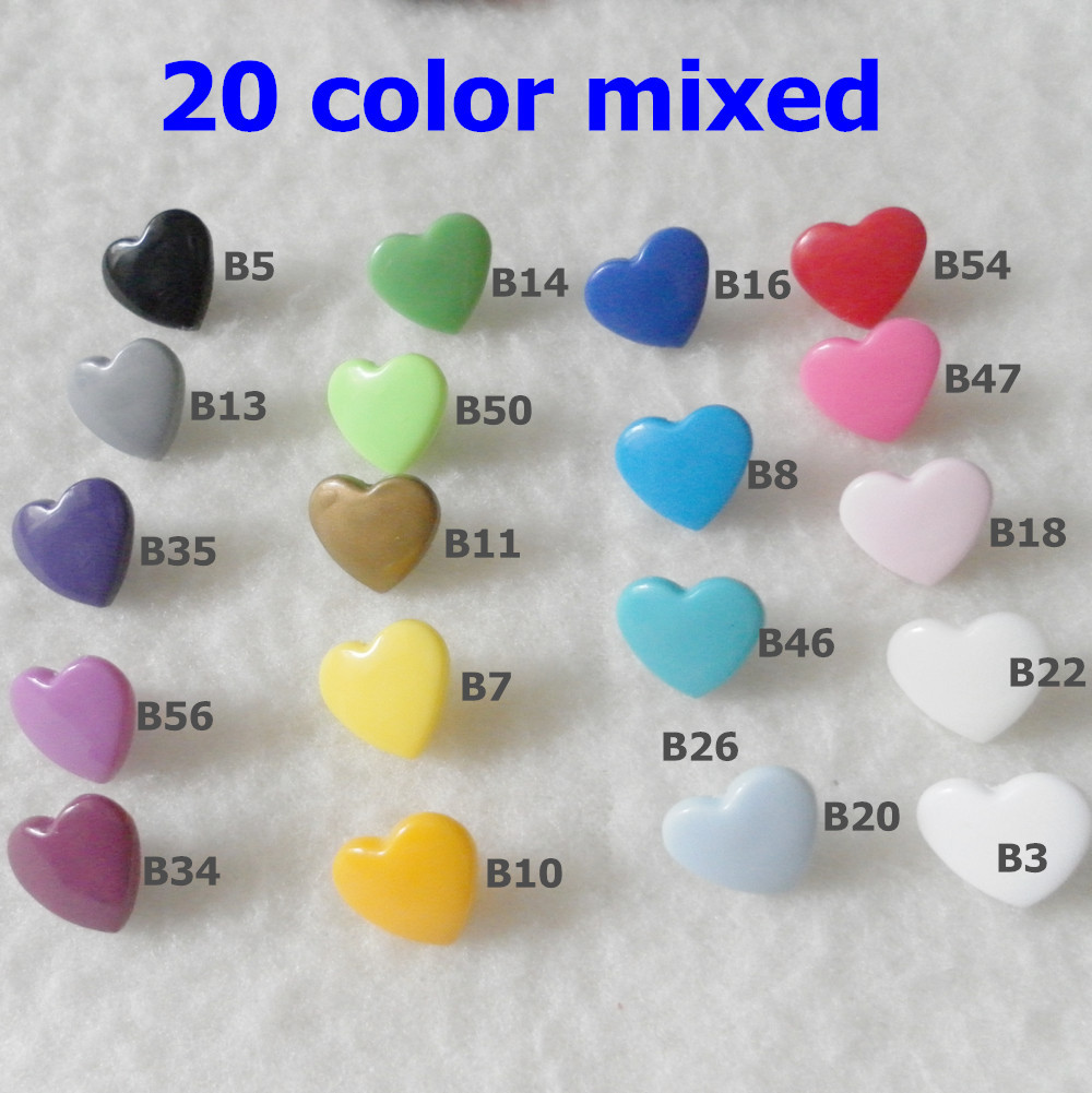 ( 20 color mixed ) 400sets kam brand Plastic resin Snap Button Snap Fastener Kam Snaps Heart