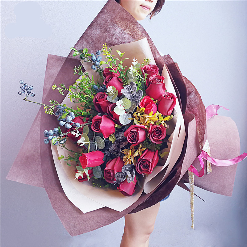 Free shipping 60X60cm Sha Sha solid color big bouquet paper flowers ...