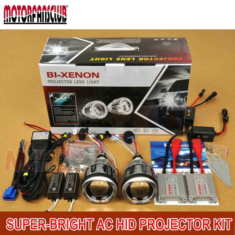 3 35W AC Car BI-Xenon Universal HID Projector Lens Kit ANGEL DEVIL EYE H1 H4 H7 9004 9005 D2S For Car Truck Motorcycle motorcycle bi xenon hid projector lens kit