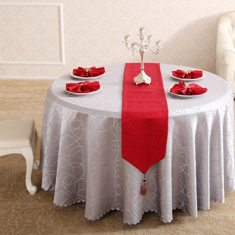 Heavy Circle Interlocking Round Grey Small Polyester Jacquard Hotel  Tablecloths Wedding Table Round Cloth Mark Place