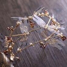 Корона в стиле барокко, диадема с трехслойной стрекозой, свадебные аксессуары для волос, короны и тиары