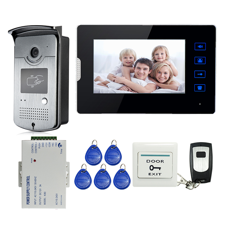 New Wired 7 Touch Screen Video Door Phone Intercom RFID Access Kit 1 Monitor + 1 Door Camera + 12V Power Supply FREE SHIPPING aputure digital 7inch lcd field video monitor v screen vs 1 finehd field monitor accepts hdmi av for dslr