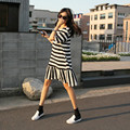 New fashion maternity clothes in summer Leisure stripe fishtail skirt with short sleeves Pregnancy wear loose clothing