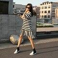 Nova moda maternidade roupas de verão Lazer stripe fishtail saia com mangas curtas desgaste Gravidez roupas soltas