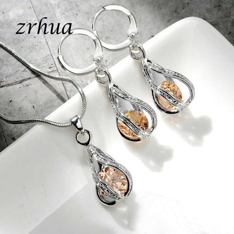 ZRHUA Wunderschöne Zirkonia Shiny Schmuck Sets für Frauen Wasser Tropfen Anhänger Halskette Ohrringe Hohe Qualität mit Schlange Kette