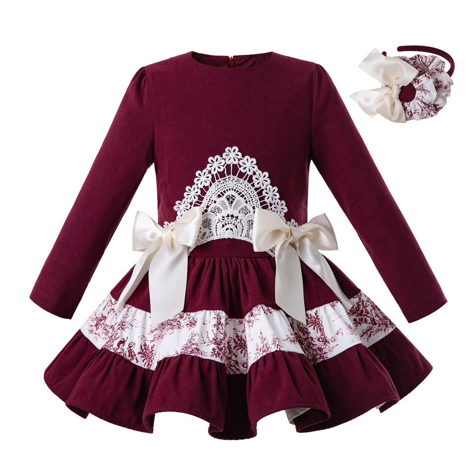 Pettigirl Wholesale Wine Red Autumn And Spring 2019 Newest Long Sleeves Party dress For Girl Lace