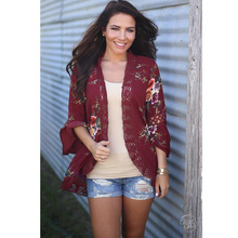 цена на women blouses 2017 Fashion Print Patchwork Lace long sleeve summer kimono cardigan blouse tops