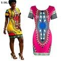 S-3XL Dashiki 2017 Women Summer Dress African Tranditional Print Robe Ladies Dresses Folk Art African Plus Size Dress Clothing