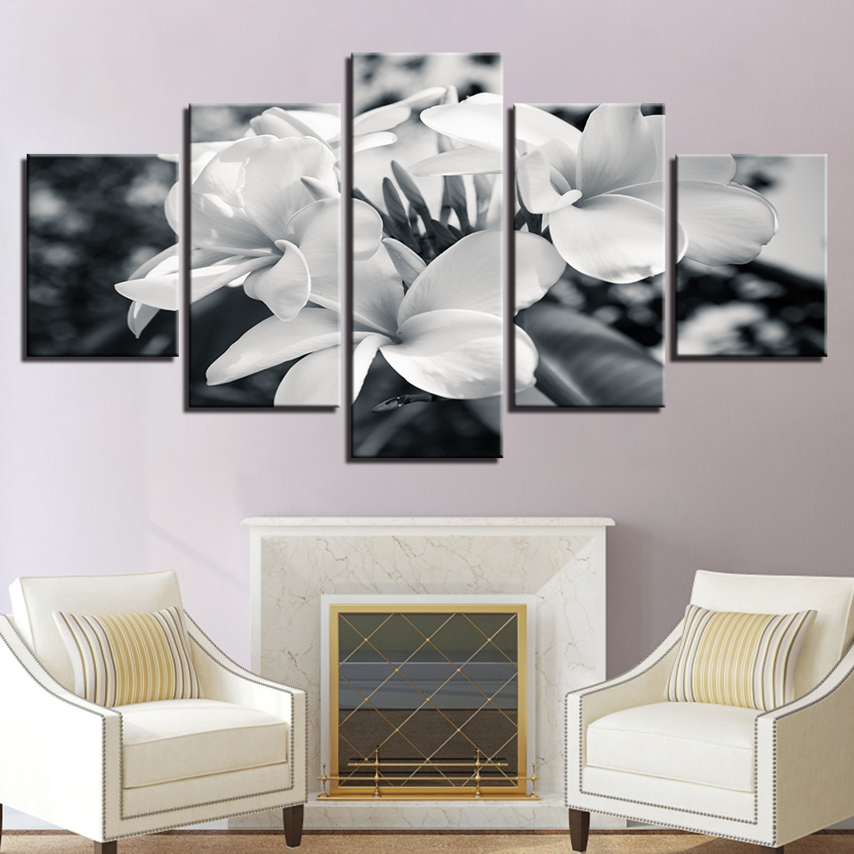 5 Pieces Black And White Flowers Posters Pictures Modern Home Wall