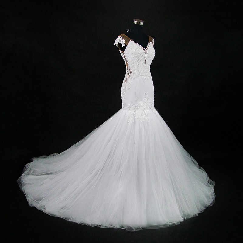 2019 New Sexy Vestido de Casamento da Luva do Tampão Sheer Voltar Sereia Africano Renda Vestidos de Noiva Vestido De Novia